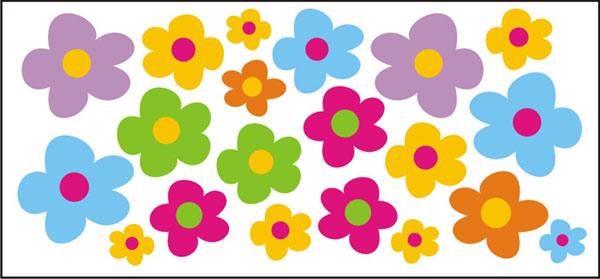 Naklejki na okno kwiatki kolorowe folia adhezyjna - zestaw 0,3 m2 ...